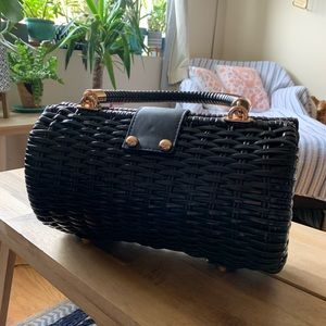Pinup Couture Bags - Pinup Couture Black Baguette Wicker Purse PUG